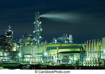 průmyslový, továrna, v noci