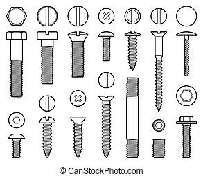 průmyslový, vrtula, šroub, cvok, a, drápy, řádka, vektor, ikona
