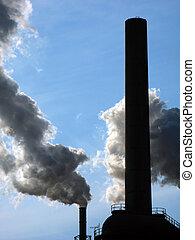 průmyslový, znečištění ovzduší