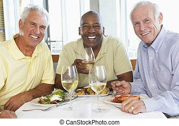 průvodce, obout si přesnídávka, dohromady, v, jeden, restaurace