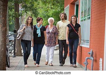 průvodce, procházka spolu, dále, chodník