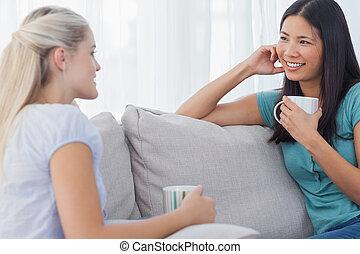 průvodce, vypít káva, a, mluvící, dohromady