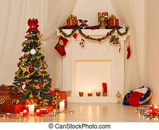 pr, 部屋, 木, クリスマスライト, 内部, 飾られる, デザイン, クリスマス