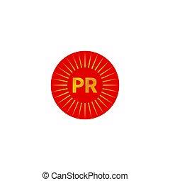 PR abstract minimal icon - PR abstract minimal logo in shape...