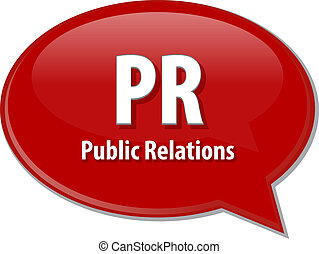 PR acronym word speech bubble illustration