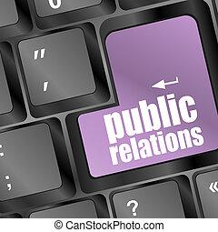 pr, bouton, relations, clavier ordinateur, public