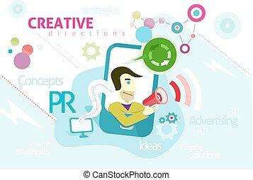 pr, concept, publicité, mots, créatif