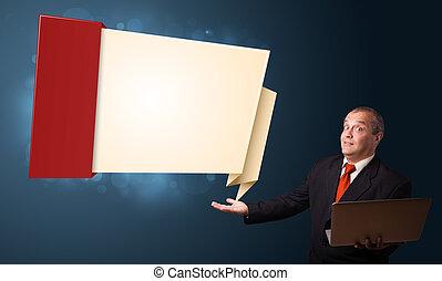 pr, homme affaires, ordinateur portable, tenue