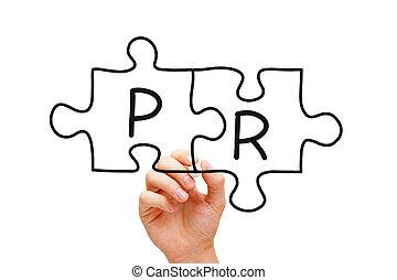 PR Puzzle Concept - Hand sketching Public Relations Puzzle...