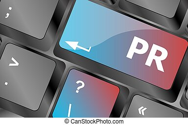 pr, słowo, handel, ilustracja, keys., wektor, klawiaturowy komputer, concept: