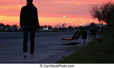 pr, wandelende, silhouette, mensen