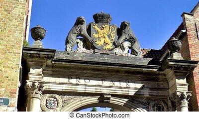 Praalboog Pro Patria, a historical landmark in Bruges, Belgium.
