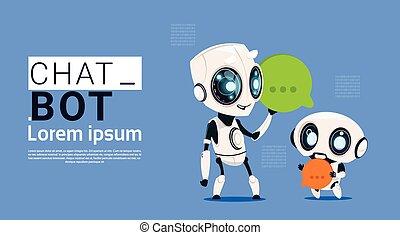 praatje, bot, robots, vasthouden, tekstballonetje, spandoek, met, de ruimte van het exemplaar, praten, of, chatterbot, steun, dienst, concept