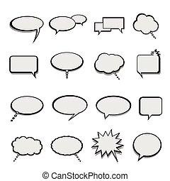 praatje, en, toespraak, ballons, of, bellen