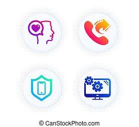 praatje, set., teken., iconen, roepen, smartphone, liefde, chat., bescherming, telefoon, telefoon, romantische, steun, aandeel, instellingen, vector