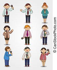 praatje, spreker, microfoon, kantoor, set, spotprent, gekke...