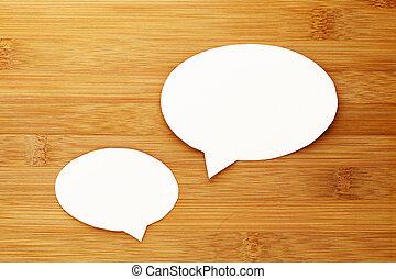 praatje, tekstballonetje, op, hout, achtergrond