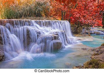 praba, kuang, luang, lluvia, si, cascada, bosque, cascadas, (tat