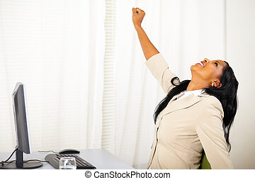 praca, świętując, wykonawca, zwycięstwo, samica
