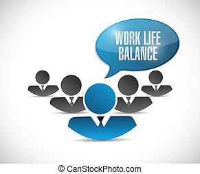 praca, życie, waga, ilustracja, drużyna