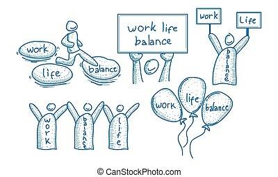 praca, życie, waga, komplet, szablon