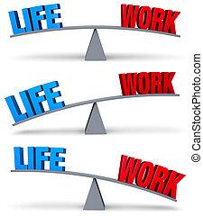 praca, życie, waga, obarczanie