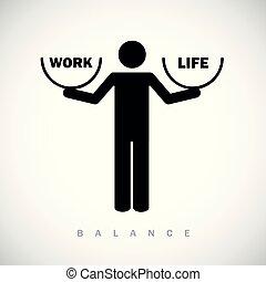 praca, życie, waga, piktogram