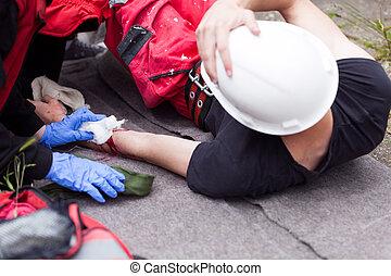 praca, accident., pierwszy, aid.