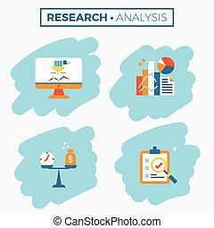 praca badawcza, analiza, ilustracja, ikona