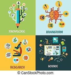praca badawcza, nauka, i, brainstorm, płaski, pojęcia