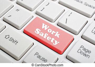 praca, bezpieczeństwo, klucz, na, klawiatura
