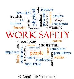 praca, bezpieczeństwo, słowo, chmura, pojęcie
