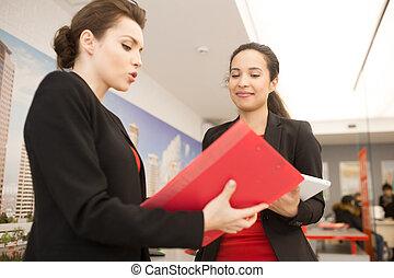 praca, biuro, kobiety, dwa, dyskutując