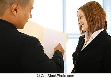 praca, coworker, przegląd, kobiety