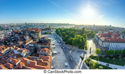 Praca de Lisboa -  view from Clerigos Tower in Porto timelapse, Portugal