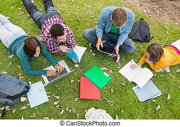praca domowa, studenci, laptop, park, kolegium, znowu, używając