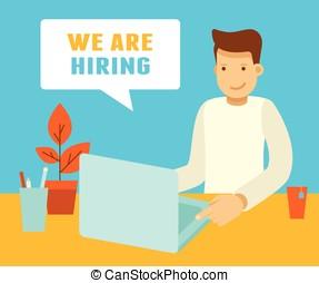 praca, freelance, pojęcie, outsource, albo
