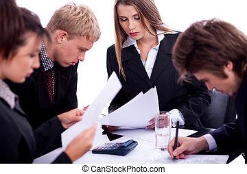 praca, grupa, handlowy zaludniają