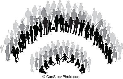 praca, grupy, wektor, rodzina