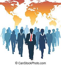 praca, handlowy zaludniają, globalny, ludzki, drużyna, ...