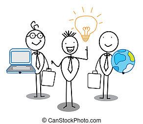 praca, idea, drużyna, biznesmen