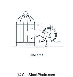 praca, kierownictwo, freelance, pojęcie, czas