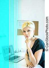 praca, kobieta, blond, biuro