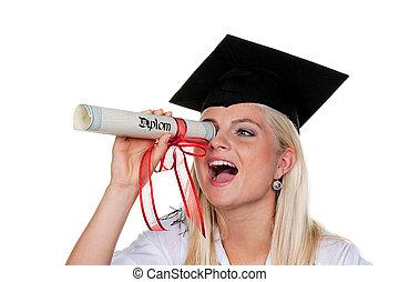 praca, kobieta, kapelusz, seeks, absolwent