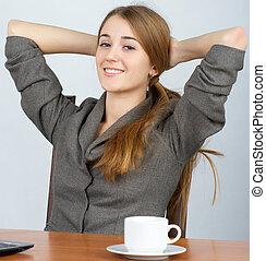praca, kobieta odprężająca, handlowy, młody