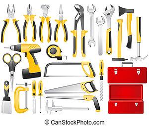 praca, komplet, narzędzia, ręka