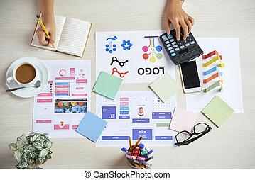 praca, koszt, liczenie, projektant