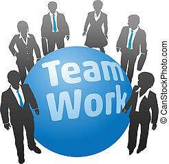 praca, ludzie handlowe, piłka, drużyna