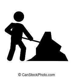 praca, mężczyźni, handel, ikona, znak