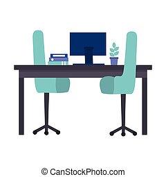 praca miejsce, odizolowany, biuro, ikona
